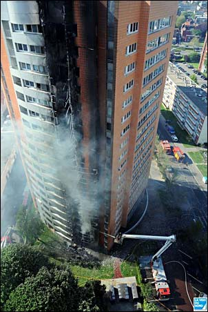 Multi floor fire. High rise fire fighting